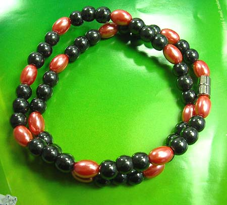 Hematite jewelry magnetic therapy for new age - red imitation pearls and black rhine stones hematite necklace