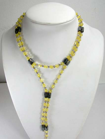 Online hematite gemstone jewelry giftware supply magnetic hematite necklace in combination of silver and yellow rhinestone beaded