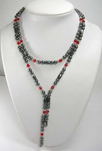 New age hematite shop store online wholesale, magnetic hematite necklace features red rhinestone and silver beads