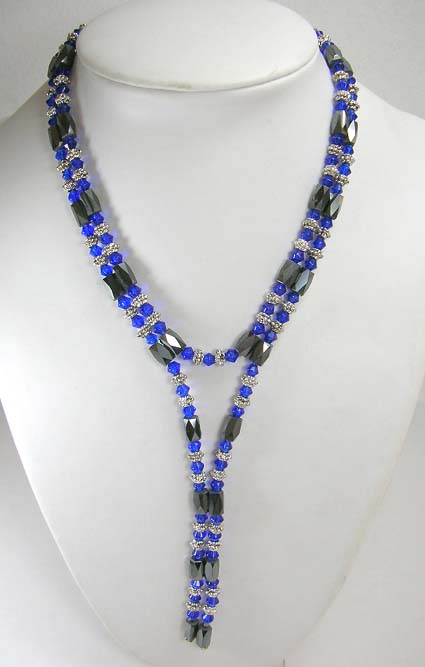 Holiday magnetic hematite jewelry shopping at wholesale price, magnetic wrap features dark blue rhinestone and Bali beads